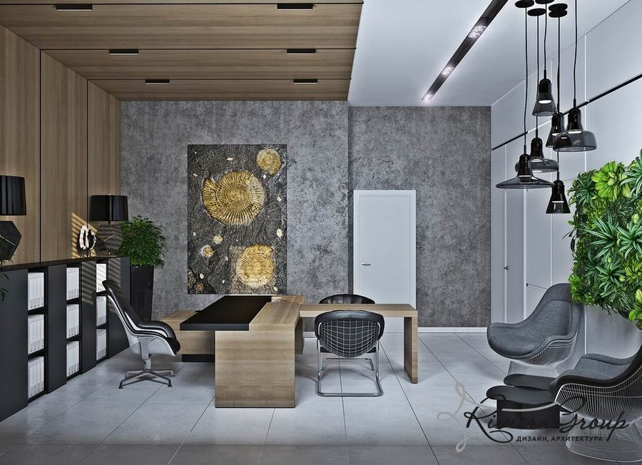 1-eco-style-office-interior-design-project-render-faux-wooden-panels-walls-ceiling-living-wall-vertical-garden-white-gray-green-black-pendant-desk-lamps