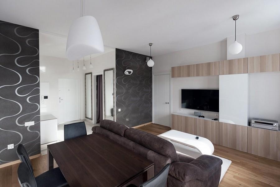 1-light-white-beige-and-purple-modern-style-minimlaist-bachelor's-apartment-interior-design-open-concept-living-room-entry-dining-area-pendant-lamps-black-textured-wallpaper