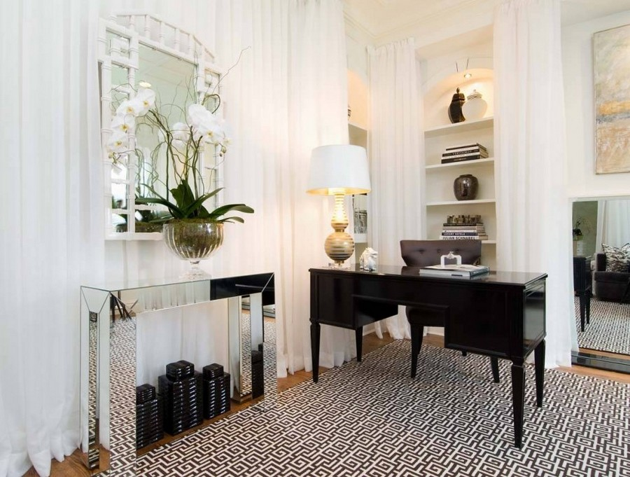 1-windowless-room-interior-design-recessed-lighting-niches-mirror-white-walls-drapery-orchid
