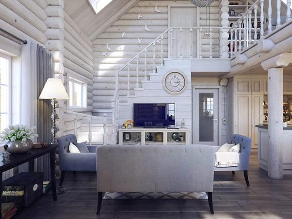 1-wooden-log-timber-house-interior-light-gray-blue-walls-open-to-below-second-floor-plan-skylights-living-room