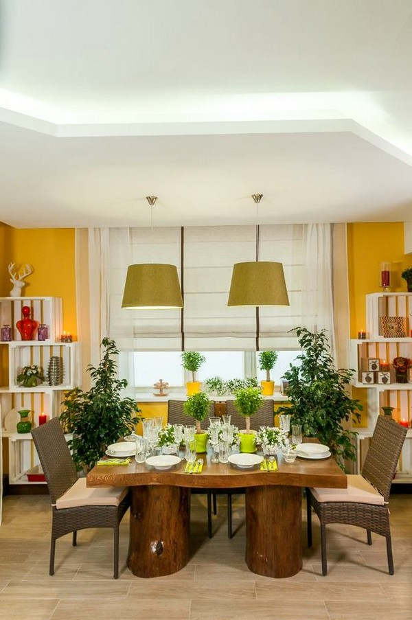 Natural Veneered Wooden Flush Door Design Mdf Living Room: Naturalistic Yellow-and-Green Living Room With Summer Mood