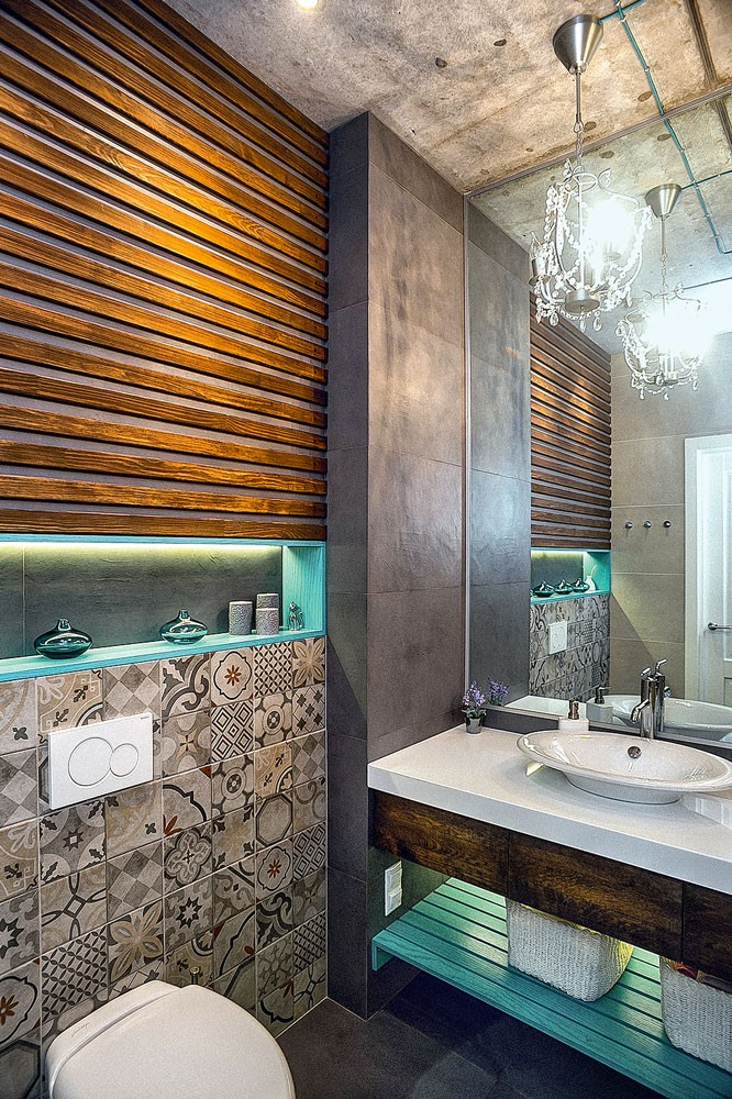10-mixed-style-brutal-loft-pop-art-eco-style-apartment-bathroom-interior-design-concrete-ceiling-faux-concrete-walls-open-wiring-crystal-chandelier-blue-recesses-mirror-wall-accent-lights-ethnical-tiles