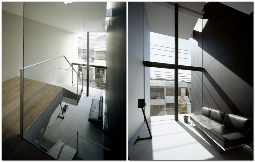 10-world's-narrowest-houses-by-Fujiwaramuro-Architects-Japan-narrow-room-interior-design-glass-panoramic-windows-staircase-white-and-black-modern-style