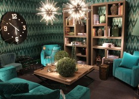11-Fancy-furniture-at-Maison-and-&-Objet-2017-Exhibition-trade-fair-Paris-living-room-set-sitting-blue-turquoise-velvet-upholstered-arm-chairs-big-black-and-white-clock-shelves-in-interior-design