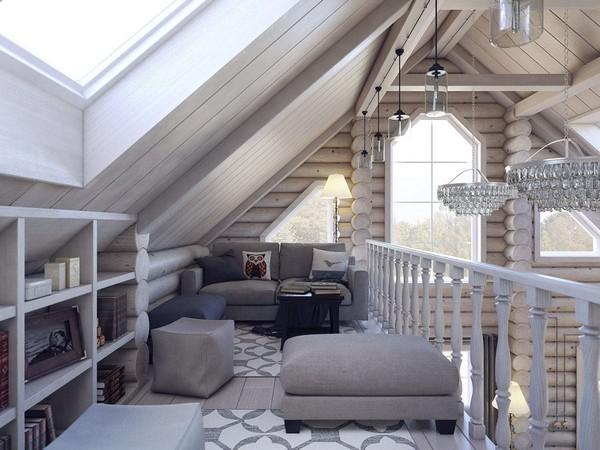 11-wooden-log-timber-house-interior-light-gray-blue-walls-open-to-below-second-floor-plan-skylights-reading-corner-room-crystal-chandeliers