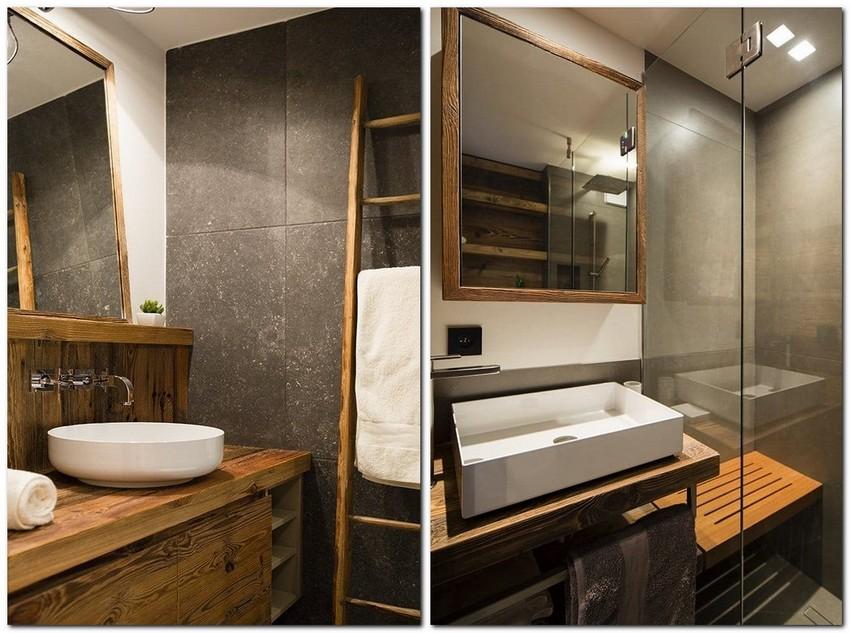 12-chalet-style-interior-design-wood-bathroom-minimalist-glass-mirror-step-ladder-towel-storage