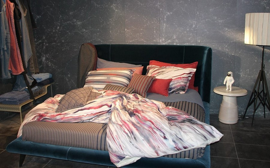 13-Diesel-Home-Linen-home-textile-at-Maison-&-Objet-2017-exhibition-trade-fair-stripy-bed-linen-pillow-cases-blue-red-white-gray