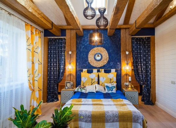 13-cheerful-blue-yellow-white-attic-bedroom-interior-design-ceiling-beams-3D-walls-skylight-curtains