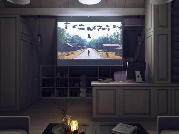 15-wooden-log-timber-house-interior-light-gray-blue-walls-open-to-below-second-floor-plan-skylights-work-room-movie-home-cinema-projector-screen
