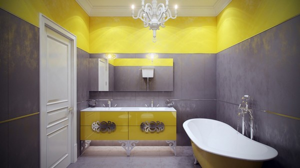 16-cheerful-gray-and-yellow-bathroom-interior-design-classical-chandelier