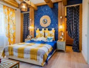 Cheerful Yellow-and-Blue Attic Bedroom with 3D Effect