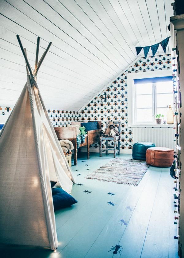 19-Scandinavian-Sweden-bohemian-boho-chic-style-interior-design-toddler-kid's-room-bedroom-wigwam-ottomans-attic-floor-wooden-ceiling-owl-wallpaper-pattern-handcrafted-hand-made-rug-carpet