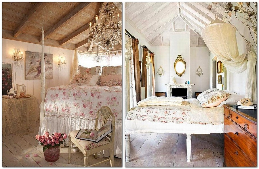 2-Provence-style-bedroom-interior-design-flowers-floral-pattern-motives-colonial-bed-tall-legs-vintage-furniture-ceiling-beams