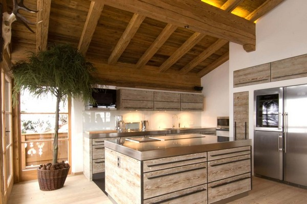 2-chalet-style-wooden-house-open-concept-kitchen-whitewashed-wooden-kitchen-set-big-indoor-potted-tree-silver-fridge-refrigerator