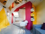 Bright Attic Interior Design with Diagonal Furniture Arrangement
