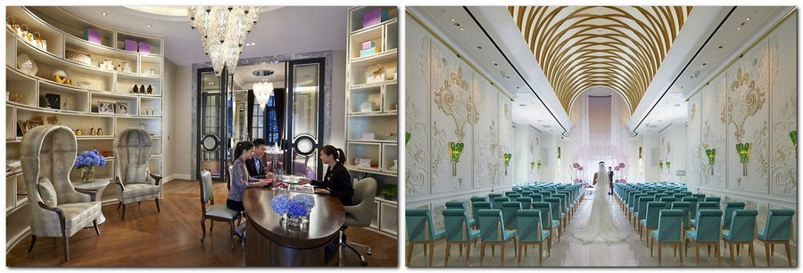 3-2-Mandarin-Oriental-Hotel-Taiwan -Mandarin-Oriental-Hotel-Taiwan-interior-design -classical-French-style-wedding-hall-white-golden-arched-ceiling-turquoise-chair