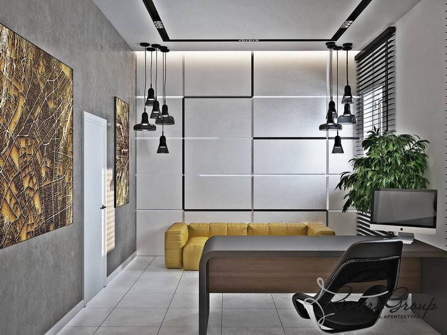 3-2-eco-style-office-interior-design-project-render-gray-black-yellow-sofa-loft-lamps-abstract-painting-potted-plant