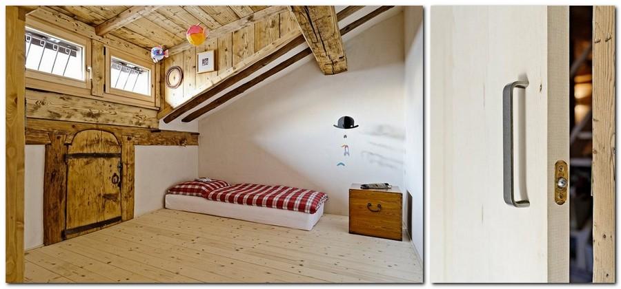 3-France-chalet-interior-design-Scandinavian-style-rough-wooden-beams-white-walls-attic-floor-bedroom-minimalist-low-bed-barn-door