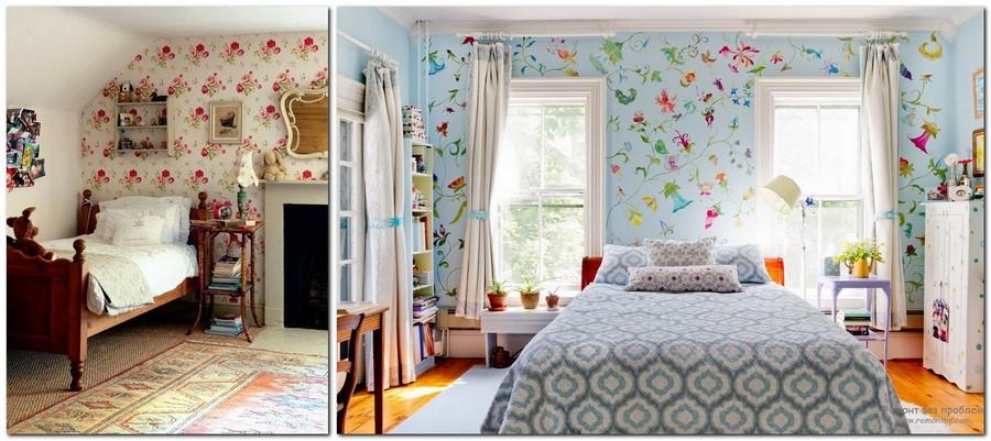 3-Provence-style-bedroom-interior-design-floral-wallpaper-geometrical-print-pattern-bedspread-blue