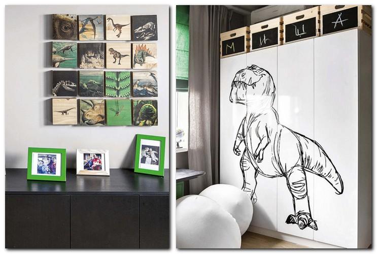 3-jurassic-park-dinosaur-inspired-toddler-kid's-boy's-bedroom-interior-design-12-piece-canvas-art--wardrobe-closet-with-sticker-baskets-with-chalkboard-decor
