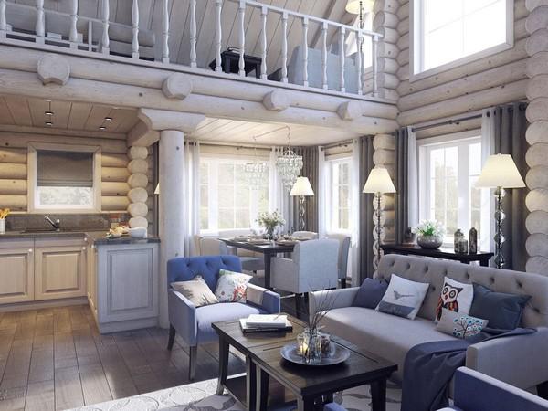 3-wooden-log-timber-house-interior-light-gray-blue-walls-open-to-below-second-floor-plan-skylights-living-room-kitchen