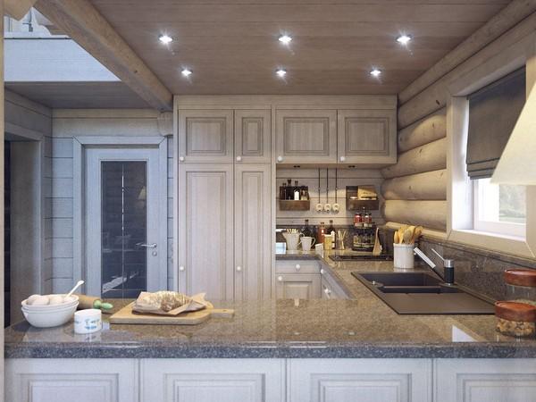4-wooden-log-timber-house-interior-light-gray-blue-walls-beige-kitchen-roman-blinds-open-wiring