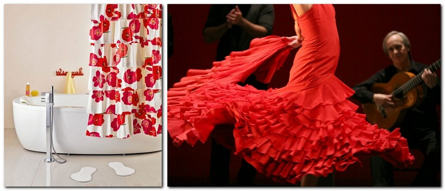 5-DIY-bright-red-and-white-hand-made-flamenco-shower-curtain-with-ruffles-folds