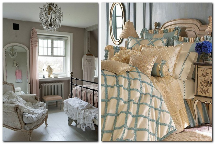 5-Provence-style-bedroom-interior-design-blue-and-beige-decorative-pillows