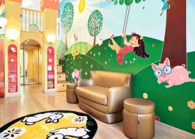 5-bright-toddler-kid's-girl's-bedroom-playroom-room-interior-design-wall-painting-mezzanine-floor-magical-castle-invisible-door