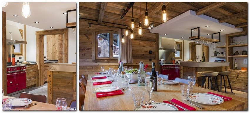 5-chalet-style-interior-design-stone-wood-open-plan-dining-room-red-accents-crimspn-stove-napkins-table-pendant-lamps-shadeless