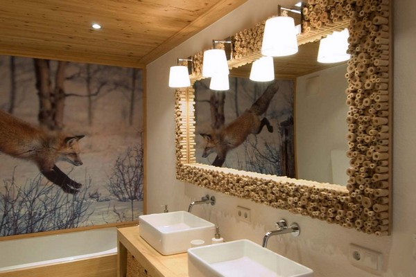 5-chalet-style-wooden-house-bathroom-interior-wall-mural-fox-snowy-forest-designer-hand-made-mirror-frame-double-two-wash-basins-wooden-ceiling