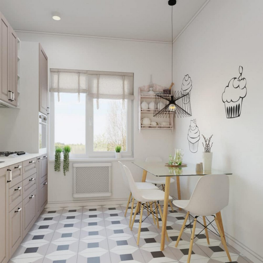 5-light-and-airy-pastel-white-and-lilac-small-kitchen-interior-design-traditional-set-glass-dining-table-top-metal-low-pendant-lamp-chairs