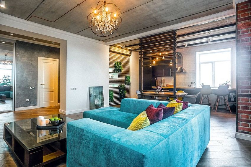 5-mixed-style-brutal-loft-pop-art-eco-style-apartment-interior-design-ceiling-faux-concrete-walls-open-wiring-wooden-planks-open-plan-living-room-kitchen-dining-room-bright-blue-velvet-sofa