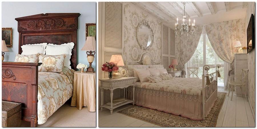 6-Provence-style-bedroom-interior-design-pastel-beige-ceiling-beams-chandelier-dark-wooden-bed