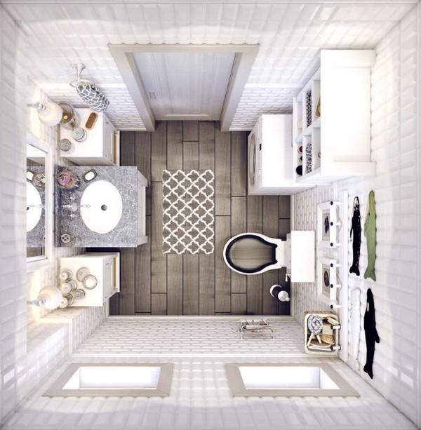 6-white-bathroom-interior-white-brick-tiles-with-beveled-edges-faux-wood-ceramic-floor-tiles-plan-top-view-retro-toilet-bowl-tank-fish-wall-decor