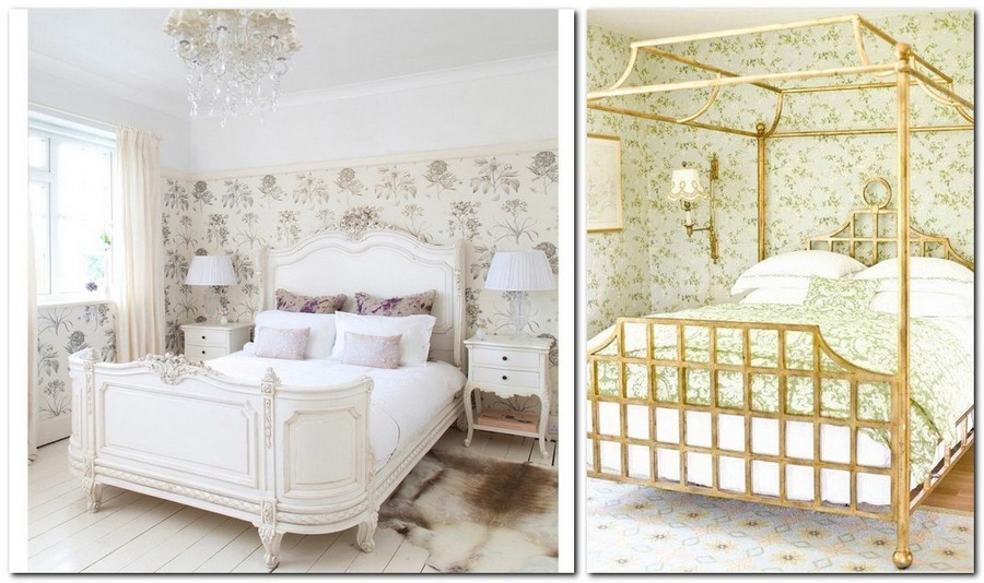 7-Provence-style-bedroom-interior-design-floral-wallpaper-canopy-bed-upholstered-white