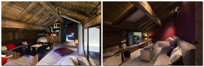 7-chalet-style-interior-design-stone-wood-red-accents-wall-movie-room-lounge-attic-floor-sloped-ceiling