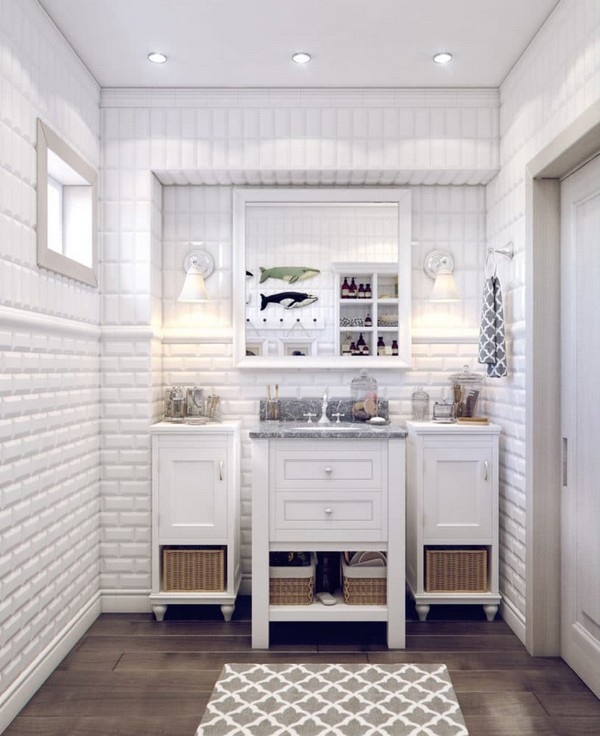 7-white-bathroom-interior-white-brick-tiles-with-beveled-edges-faux-wood-ceramic-floor-tiles-wash-basin-cabinet-traditional-style-storage-baskets