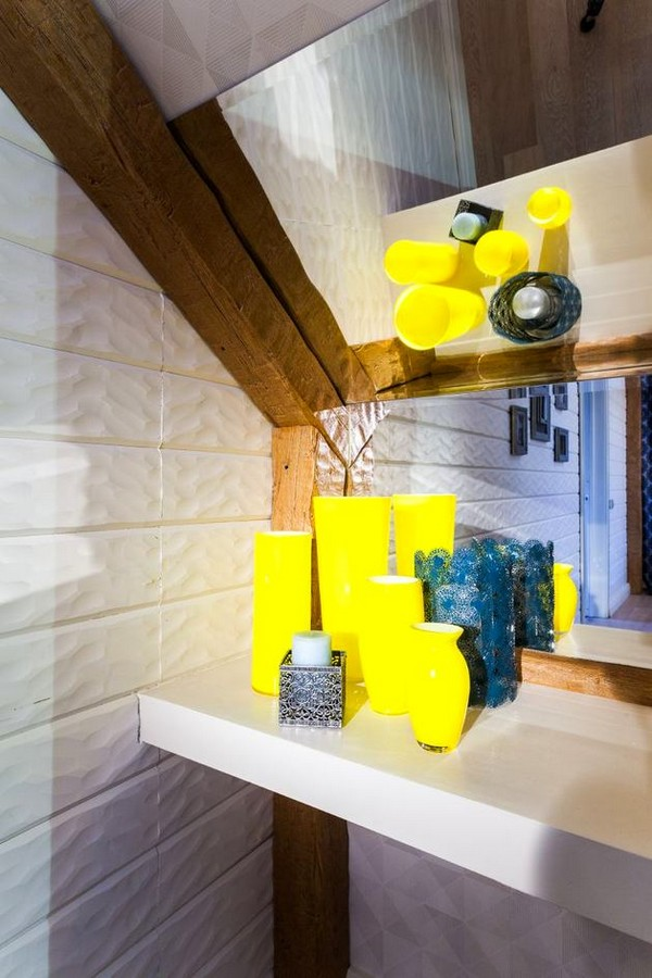 8-cheerful-blue-yellow-white-attic-bedroom-interior-design-ceiling-beams-3D-walls
