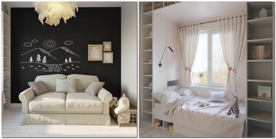 8-light-and-airy-pastel-white-and-lilac-interior-design-girl's-bedroom-toddler-room-traditional-style-chalkboard-wall-desk-bed-near-the-window-IKEA-ceiling-lamp