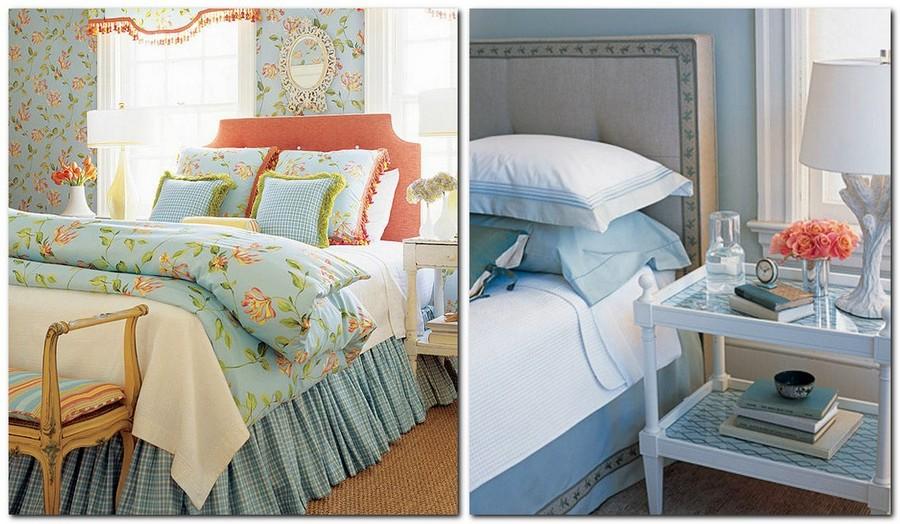 9-Provence-style-bedroom-interior-design-blue-bed-linen-floral-pattern-wallpaper