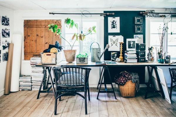 9-Scandinavian-Sweden-bohemian-boho-chic-style-interior-design-work-room-workshop-decor