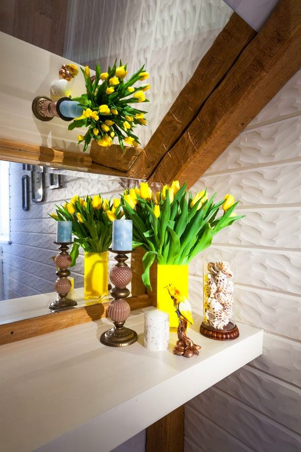 9-cheerful-blue-yellow-white-attic-bedroom-interior-design-ceiling-beams-3D-walls
