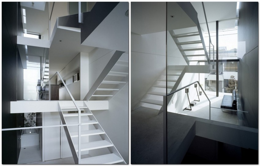 9-world's-narrowest-houses-by-Fujiwaramuro-Architects-Japan-narrow-room-interior-design-glass-panoramic-windows-staircase-white-and-black-modern-style
