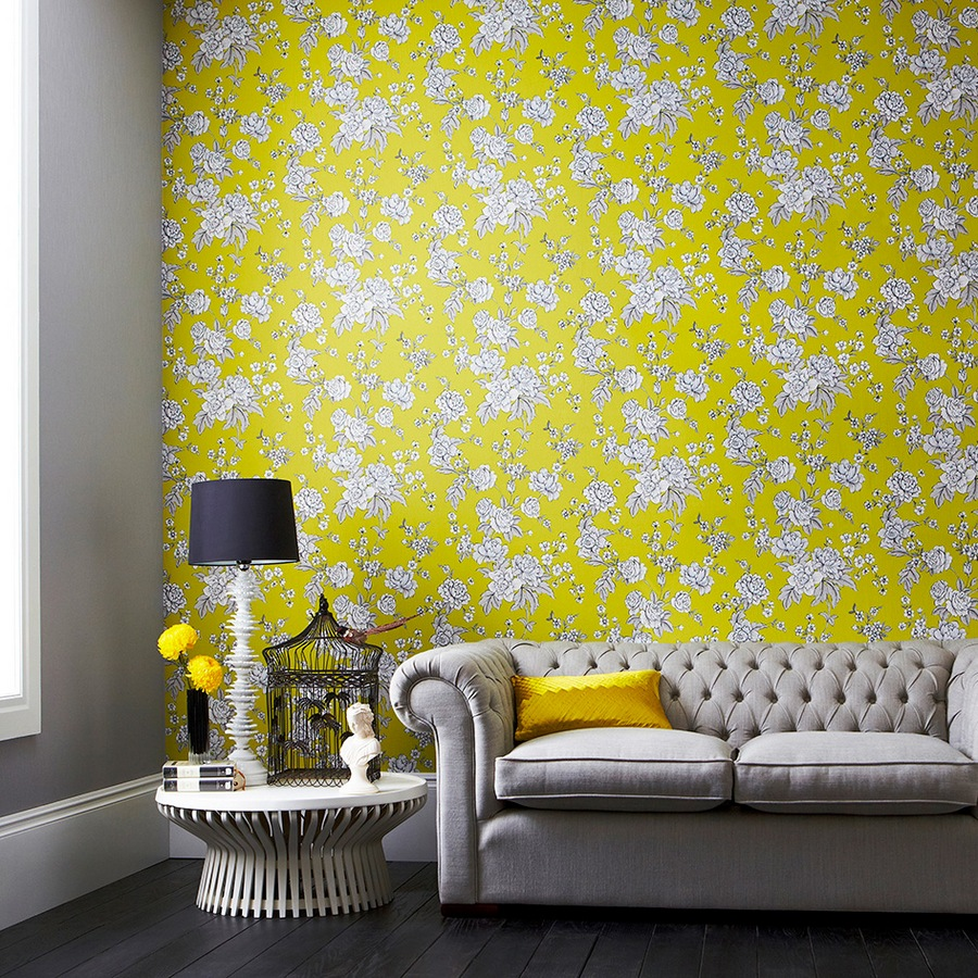 0-bright-yellow-and-white-Engish-style-wallpaper-floral-pattern