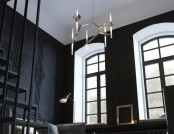 Tiny Monochrome Black-Walled Apartment with Mezzanine Floor