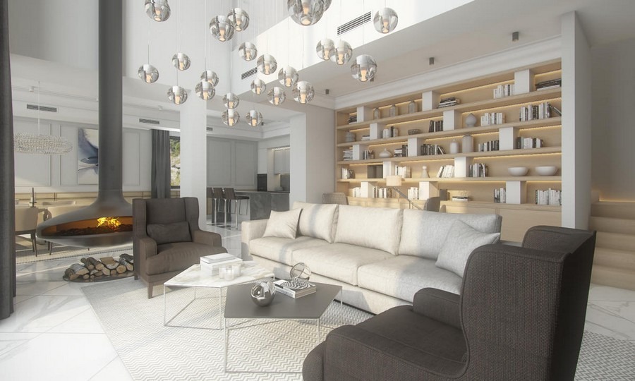 0-neutral-beige-and-gray-colors-interior-design-in-contemporary-style-open-concept-living-dining-room-kitchen-hanging-suspended-fireplace-white-marble-floor-tiles-sofa-brown-arm-chairs-big-shelving-unit-many-pendant-lamps