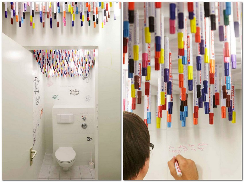 1-1-creative-unusual-interesting-WC-restroom-toilet-interior-design-idea-tulp-germany-marker-pens-attached-with-magnets-to-the-ceiling-drwaing-on-the-walls