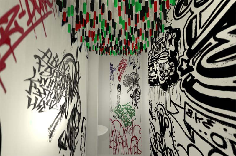 1-2-creative-unusual-interesting-WC-restroom-toilet-interior-design-idea-tulp-germany-marker-pens-attached-with-magnets-to-the-ceiling-drwaing-on-the-walls