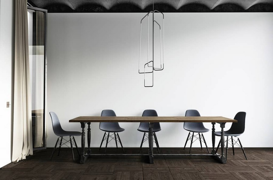 1-ascetic-minimalist-loft-style-dining-room-interior-design-white-walls-black-ceiling-wooden-table-gray-chairs-dark-floor